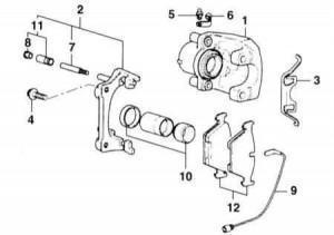 схема тормозных колодок e83