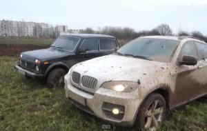 Испытание BMW X6 и новой Нивы