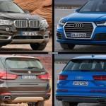 Фото сравнение Audi Q7 и BMW X5 2015 годов