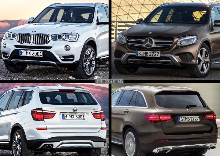 Фото сравнение новых Mercedes-Benz GLC (X253) и BMW X3