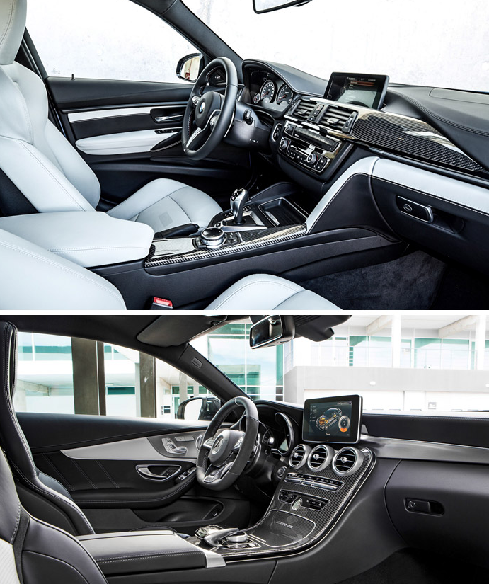 Визуальное фото сравнение BMW M4 и Mercedes C63 S AMG купе