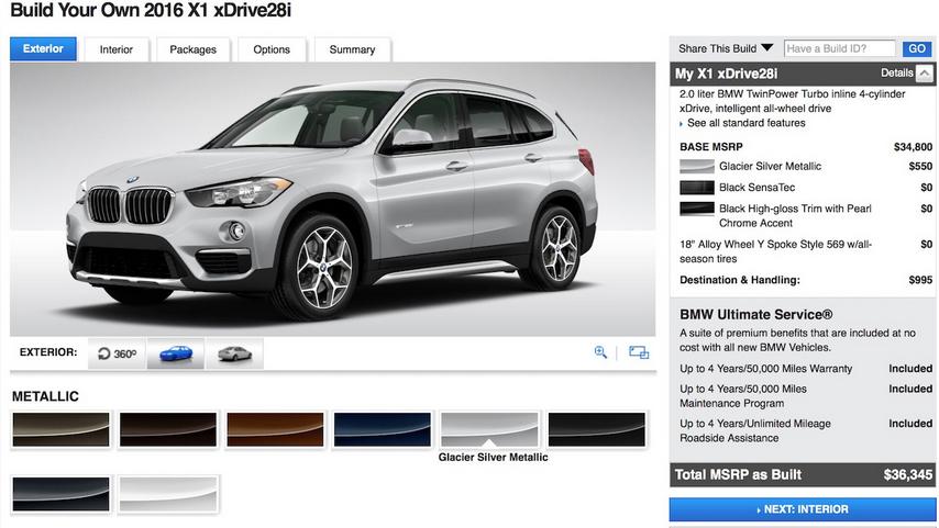 Начальная цена BMW X1 xDrive28i 2016 года: $35,795