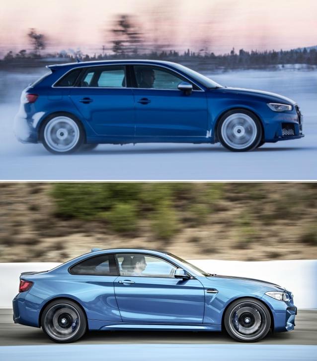 визуально BMW M2 и Audi RS3