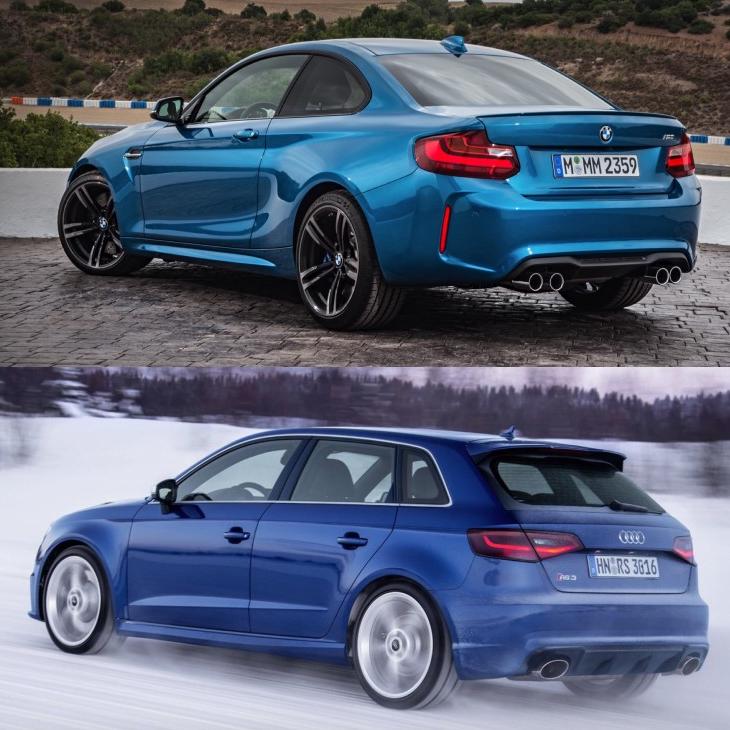 Фото сравнения BMW M2 и Audi RS3