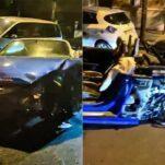 Прокатный Audi R8 развалился пополам после ДТП с 13 автомобилями