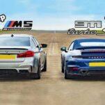 Дрэг-гонка: новый Porsche 911 Turbo S против 1000-сильной BMW M5